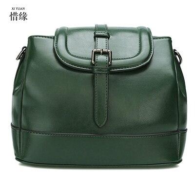 XIYUAN New Design BUCKET Women Leather Dark green Handbags Casual ...