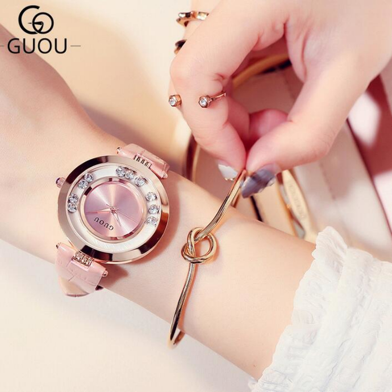 GUOU Watch Luxury Glitter Diamond Rhinestone Watch Women Watches Women's Fashion Exquisite Leather Clock saat relogio feminino