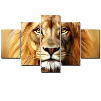 African Lion Modular Pictures For Living Room Wall Large 5 Panels Lion Head Wall Posters And