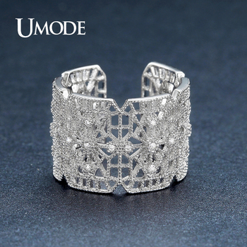 UMODE Fashion Jewelry Accesories Geometric Hollow CZ Stone Rings for Women White Gold Color Cocktail Rings Bagues Strass UR0388B
