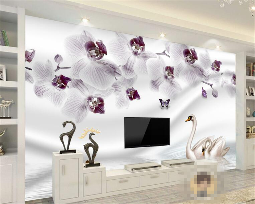 Beibehang Modern home decoration purple flower reflection swan photo wallpaper room background wall wallpaper papel de parede 3d stylish crossbar pink cat eye mirrored sunglasses for women
