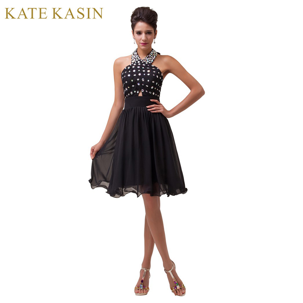 d7a3cfa0e80956 Halter Beading Knee Length Short Cocktail Dress Chiffon Coctail Gown ...