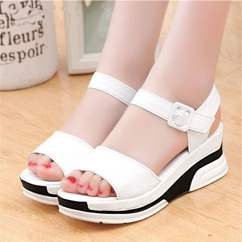 2017 Summer Shoes Woman Platform Sandals Women Soft Leather Casual Open Toe Gladiator Wedges Trifle Mujer Women Shoes Flats plus size 34 44 summer shoes woman platform sandals women rhinestone casual open toe gladiator wedges women zapatos mujer shoes