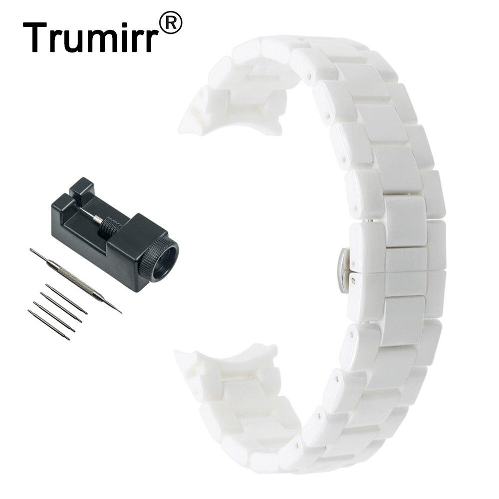 18mm 22mm Ceramic Watch Band for Armani AR1400 AR1405 AR1410 AR1417 AR1426 AR1442 AR1451 AR1452 AR1468 Strap Wrist Belt Bracelet curved end ceramic watchband 18mm 22mm for ar1452 ar1405 ar1442 ar1426 ar1468 men women watch band wrist strap bracelet white