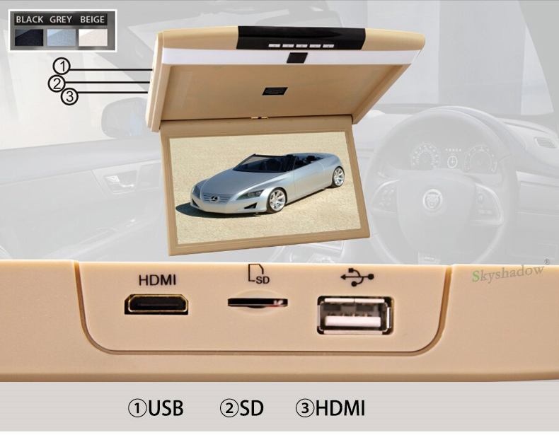 "Sale Stylish 17.3"" / 15.6"" Color TFT LCD Display 12V~24V Roof Mount Car Monitor Flip Down Car Monitor Player HD 1080P HDMI USB SD FM 3"