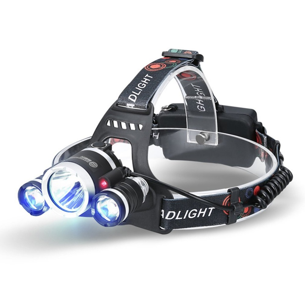 3 * T6 LED Headlamp Rechargeable Outdoor Ultra Brightness Headlight with 3 Light Modes & Fixed Focus Long Shot Fishing Lamp3 * T6 LED Headlamp Rechargeable Outdoor Ultra Brightness Headlight with 3 Light Modes & Fixed Focus Long Shot Fishing Lamp