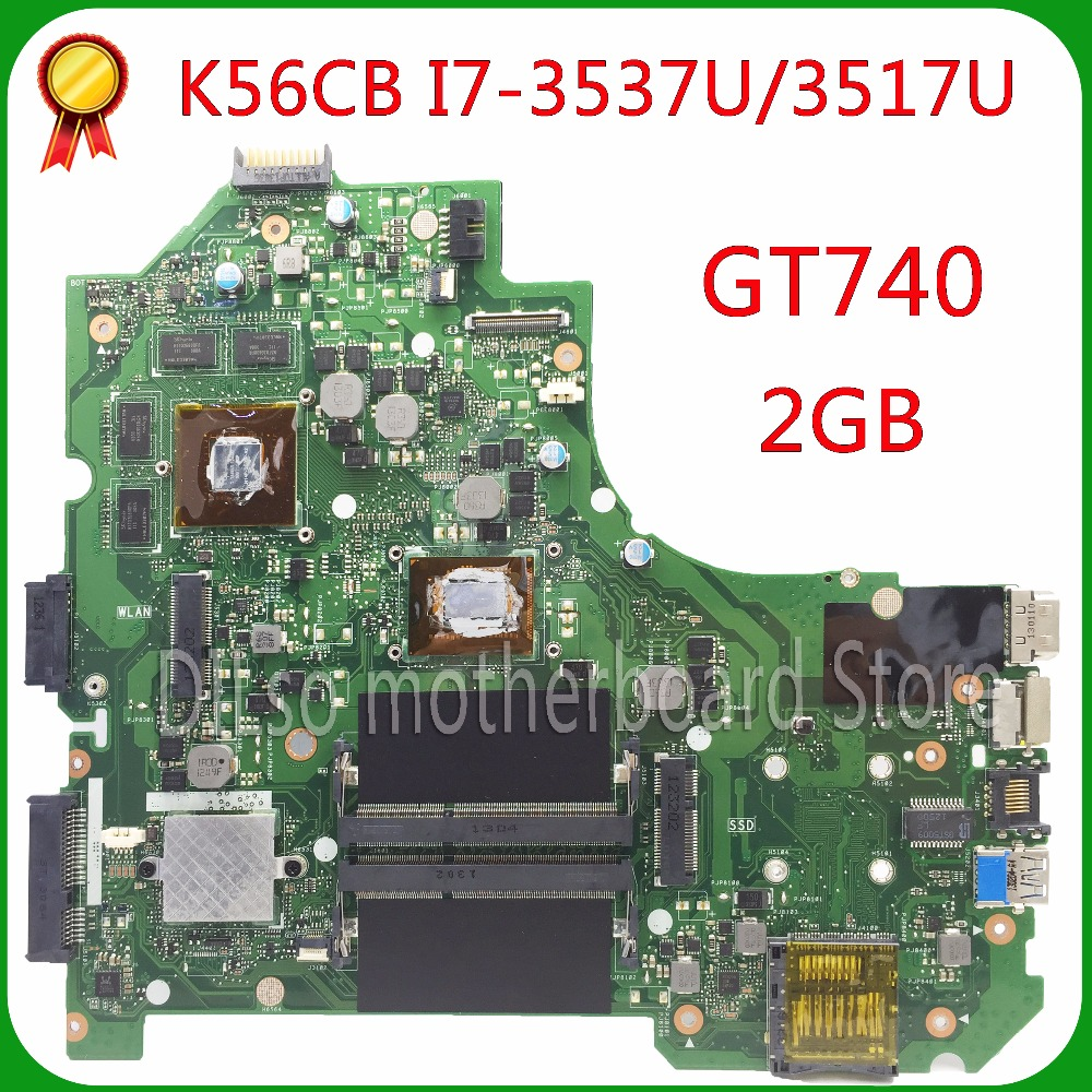 For ASUS K56CB K56CM A56C S550CM Laptop Motherboard  i7-3537U GT740 2GB  Mainboard 100% tested  K56CM mainboard  Non-Integrated  k56cb laptop motherboard for asus with i7 cpu non integrated k56cm mainboard 100