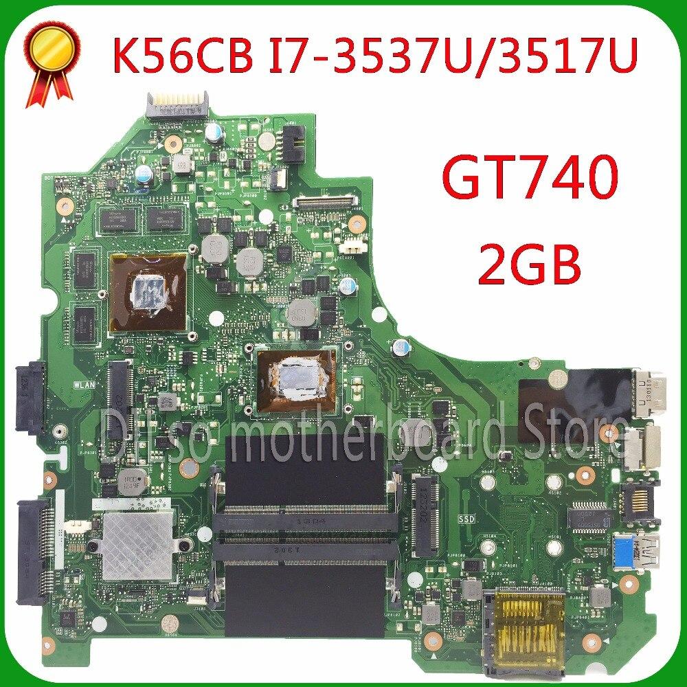 KEFU K56CM Pour ASUS K56CB K56CM A56C S550CM Mère D'ordinateur Portable i7 CPU GT740 2 GB Carte Mère 100% testé S550CD K56CM carte mère PM