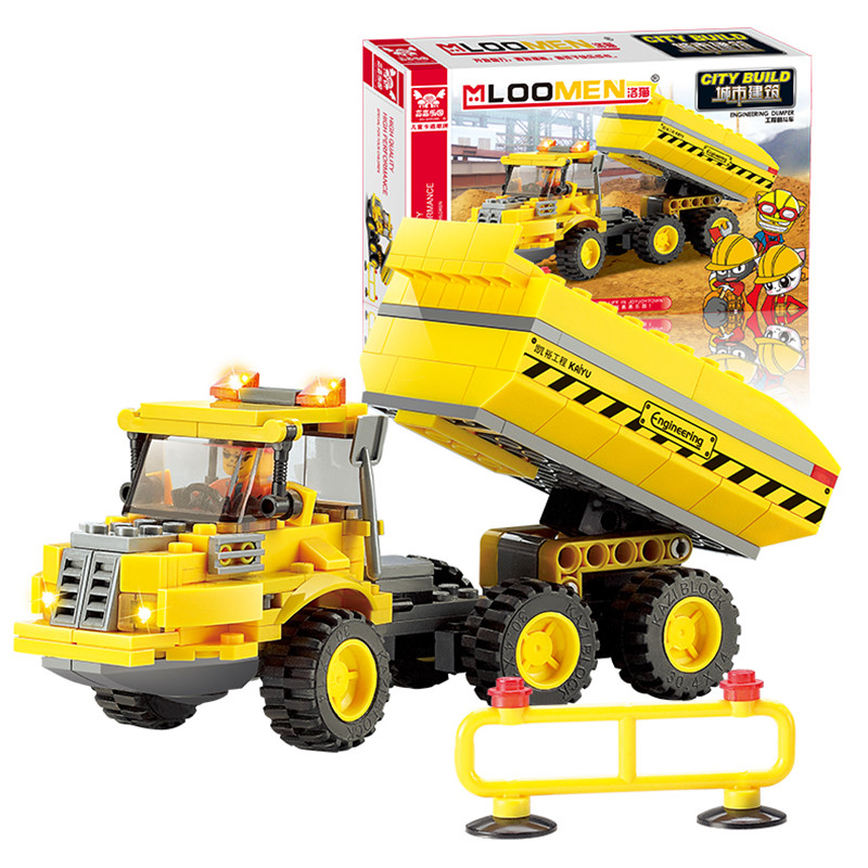 new Year Playmobile 191PCS Engineering Truck Car yellow Building Blocks Bricks Construction Enlighten Toys For Children Gift