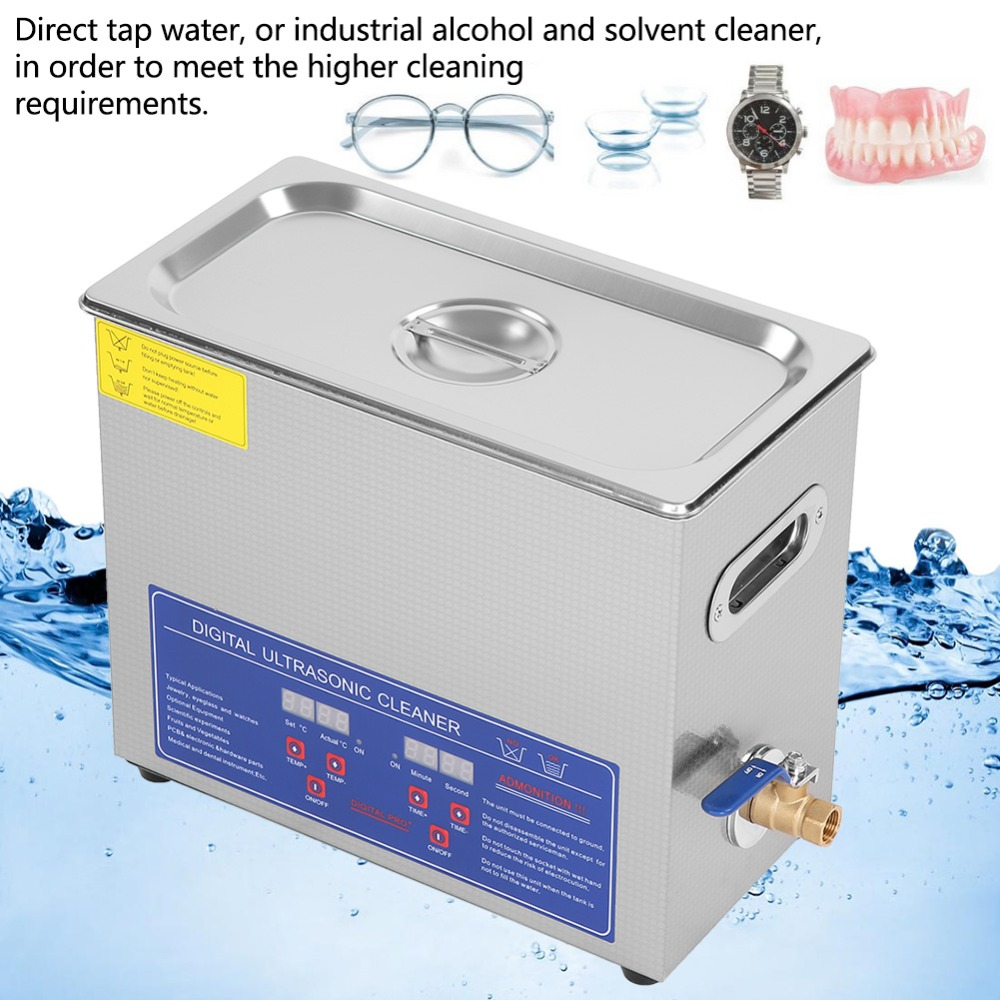 Stainless Steel 6 L Digital Ultrasonic Cleaner Liter Industry Heated Heater Machine Ultra Sonic Cleaning Machine