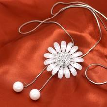 Women Long Necklaces & Pendants Daisy Flower Tassel Sweater Necklace New Fashion Jewelry White Sunflower Design Gifts white long sleeves jumper colorful tassel design