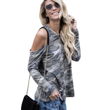 Autumn Female T-shirts Top O Neck Camouflage Shirts Strapless Shoulder Part Hollow Long Sleeves T Shirt
