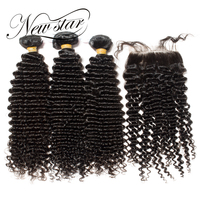 Новая звезда глубокая Curl 3 Связки с закрытием Бразильский Бесплатный Часть кутикулы неприсоединения Девы Weave человеческих волос натуральны