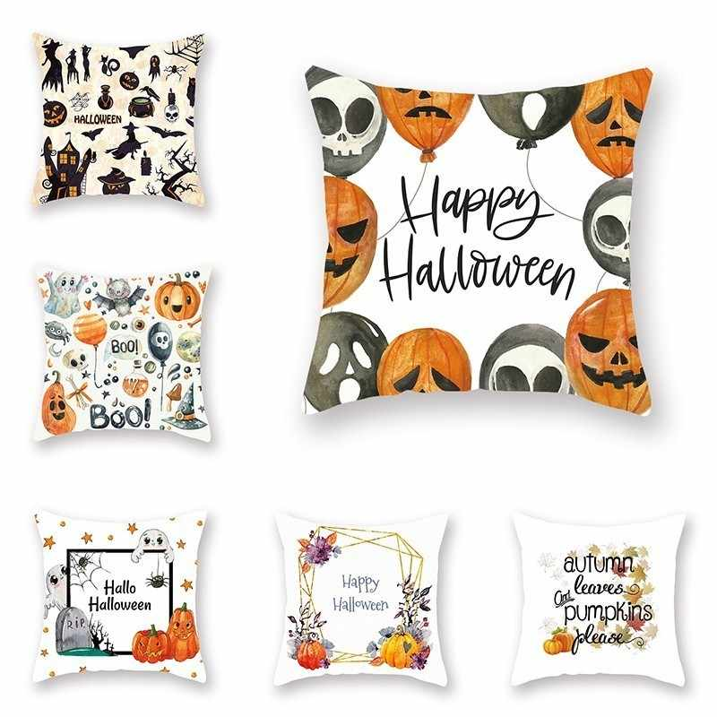 Festival Dekoratif Sarung Bantal Halloween Hari Thanksgiving Labu Cetak Bantal Case Polyester Lembut Sofa Bantal Cover