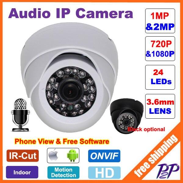bilder für CCTV Mini HD 720 P 1080 P Ip-kamera Audio-eingang Mit Externe Pickup Mikrofon ONVIF P2P Sicherheit Dome Indoor surveillance Cam