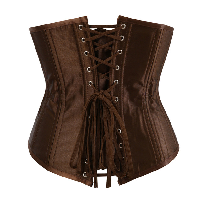 Women's Sexy Spiral Steel Boned Underbust Corset and bustier satin clothing Waist trainer lingerie Plus size S-6XL