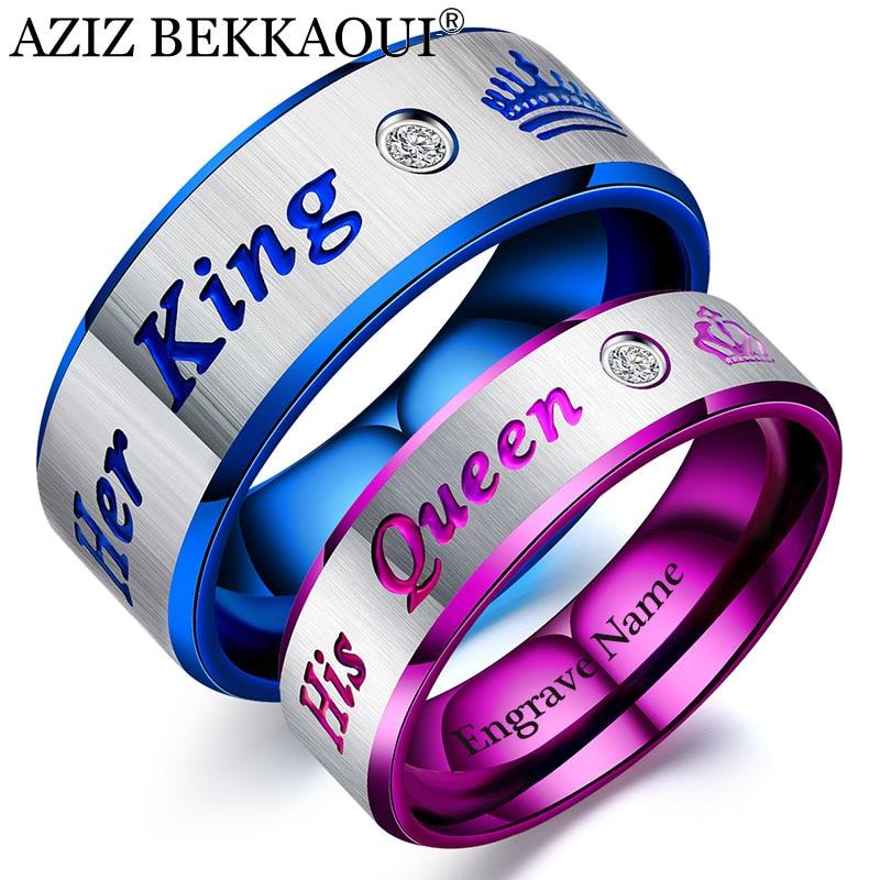 2 Collares para Hombre Mujer Anillo Acero Inoxidable Her King His Queen Regalo Amor para Amantes Amistad Oro Rosa Negro