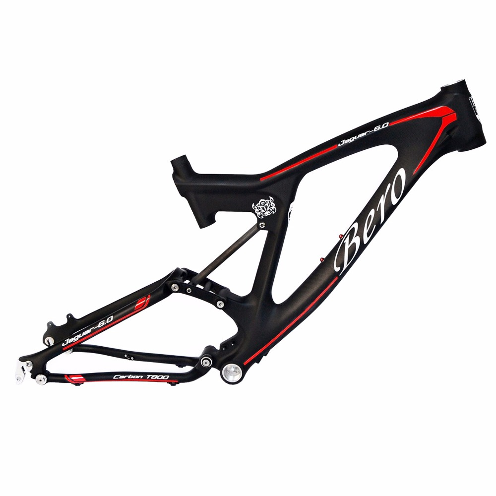 BEIOU Downhill Dual Suspension 3K Carbon Mountain Bike Frame DW-LINK 26-Inch Matte Black Unibody Internal Cable Routing MTB B022