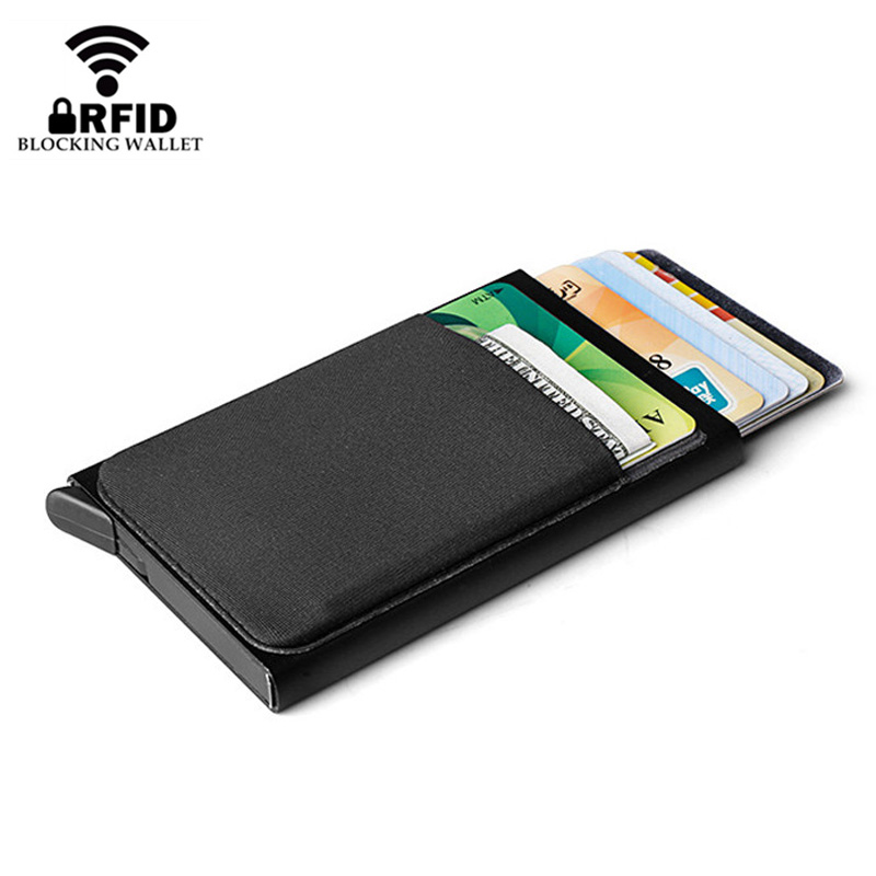 New Mini Aluminum Wallet With Elastic Back Pocket ID Credit Card Holder RFID Blocking Small Automatically Pop Up Metal Card Case