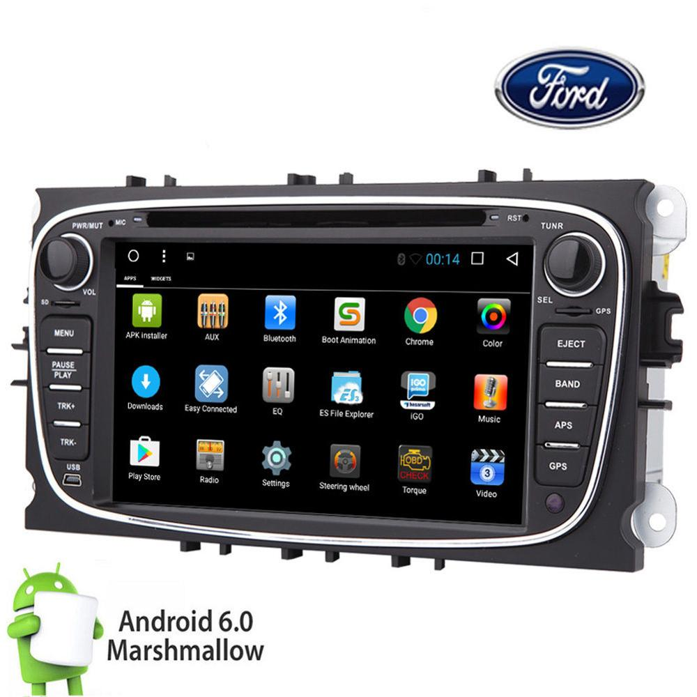 4 CORE 2 Din Android 6.0 Car DVD GPS Navi Bluetooth For Ford Mondeo Focus S-Max