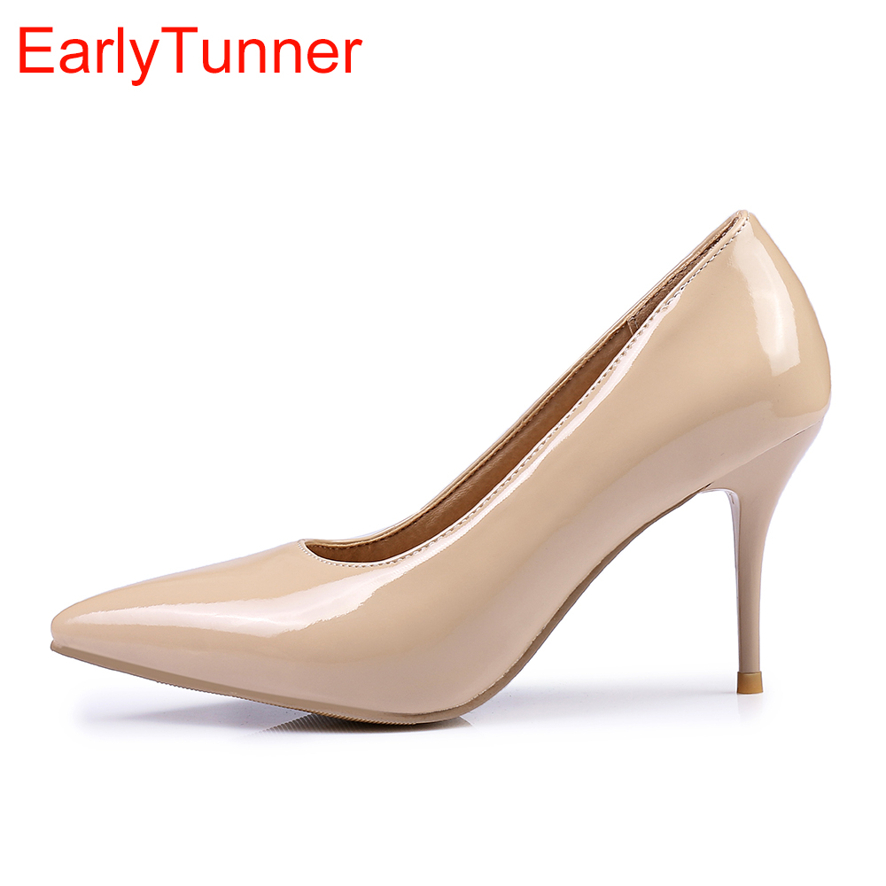 Brand New Classic Black Red Women Glossy Nude Pumps Stiletto High Heels White Lady Formal Shoes EMP50 Plus Big Size 10 48 30 45 brand new glossy sexy rome women pumps red gold silver high heels ladies nude dress shoes em81 plus big small size 12 30 43 48