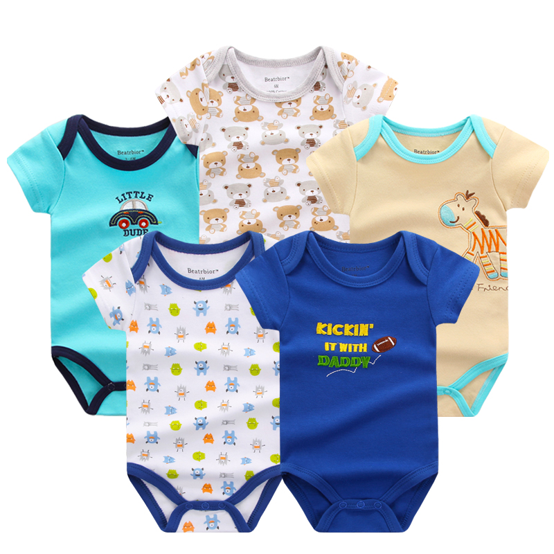 2018 Baby Boy Clothes 5pcs/lot Newborn Baby Rompers Cute Cotton Fashion Baby Clothes Baby Clothing Romper Jumpsuits ...