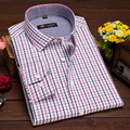 2016 Primavera/Otoño Nueva Moda de Mediana edad Para Hombre Camisas A Cuadros de Rejilla de la Camisa Más El Tamaño de Manga Larga de Negocios Causales Loose Camisa Padre