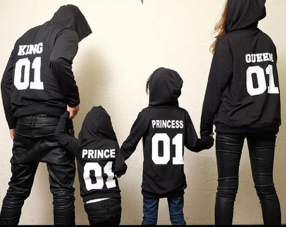 2017 herbst Winter Paar Kleidung Hoodies KÖNIG Königin Prinzessin Prinz Drucken Sweatshirts Liebhaber Pullover für Mann und Frauen Kind