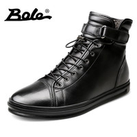 BOLE Handmade Leather Men Snow Boots Winter New Lace Up Buckle Furry Men Ankle Boots Keeping
