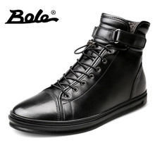BOLE Handmade Leather Men Snow Boots Winter New Lace Up Buckle Furry Men Ankle Boots Keeping Warm Flats Boots Men Big Size 38-48