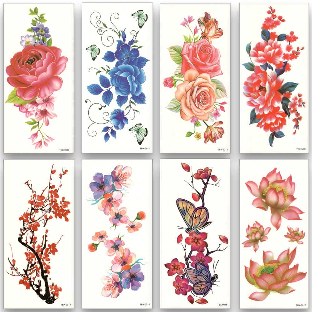 8pcs/set Flower Waterproof Temporary Tattoos Water Transfer Colorful Stickers Beauty Health Body Art women girl sexy Makeup