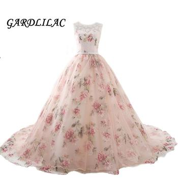 Beautiful Flower Print Floral Wedding Dresses 2019 Real Photo Princess Simple TOP Lace Appliques Beaded Blush Bridal Ball Gowns
