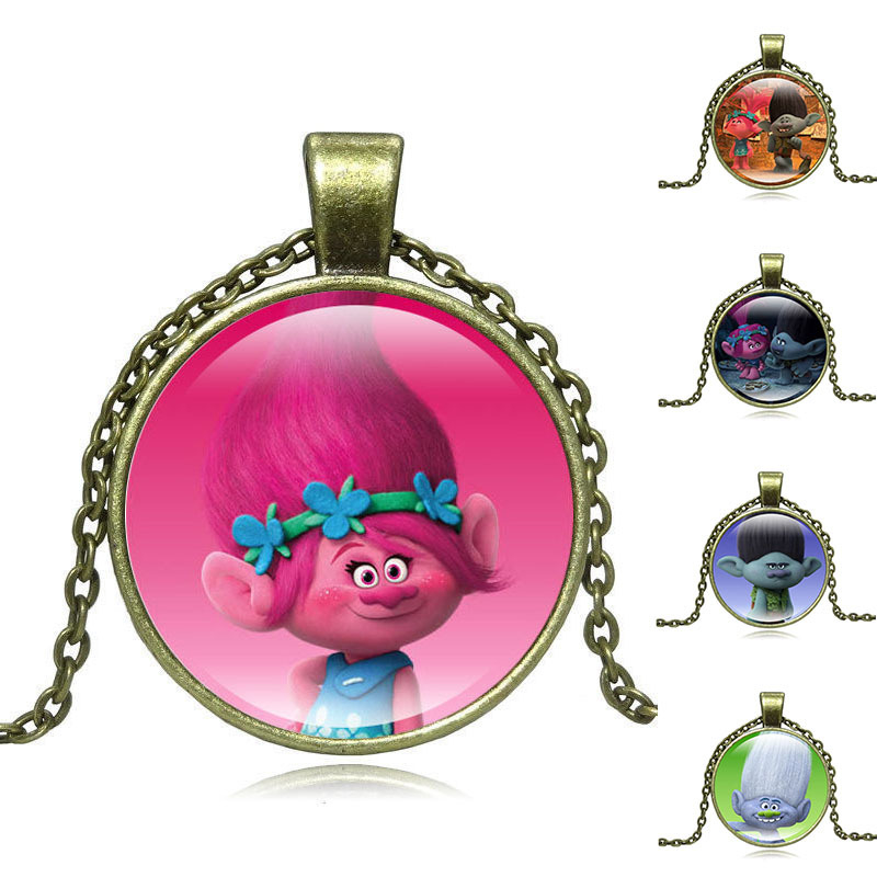 Friendly Hot Moana Pendant Anime Carton Silver/bronze Trolls Doll Chain Necklace With 2.8cm Kid Cosplay Props Toys For Kids Girls Gifts Novelty & Special Use