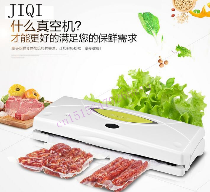JIQI Vacuum food sealer commercial household automatic vacuum packaging machine of tea  food sealing food processor saver 100w free shipping full automatic vacuum packaging machine and household food machine small commercial vacuum sealing machine