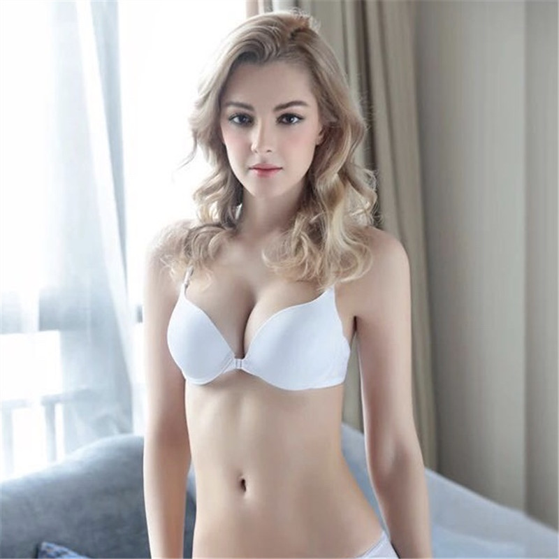 2018 new lingerie front buckle underwear female thin section with beautiful back gather girl student sexy bra image