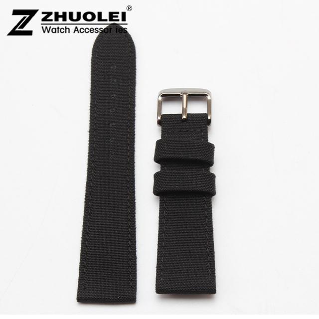 Lona de Nylon Durable Deporte Acolchada Correa de Reloj cómodo Forro de Cuero 20mm 22mm