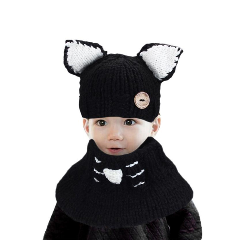 2017 Winter Wool Knitted Cat Hats Baby Girls Shawls Hooded Cowl Beanie Caps kids hat