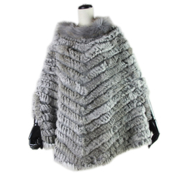 Harppihop New Women Fashion Pullover Knitted Genuine Rabbit Fur Raccoon Fur Poncho Cape Real Fur Knit Wraps Triangle Shawls Coat