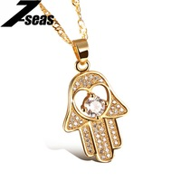 Lucky Hamsa Hand Necklace Fashion Vintage Yellow Gold White Plated Crystal Women Man Religious Fatima Hand
