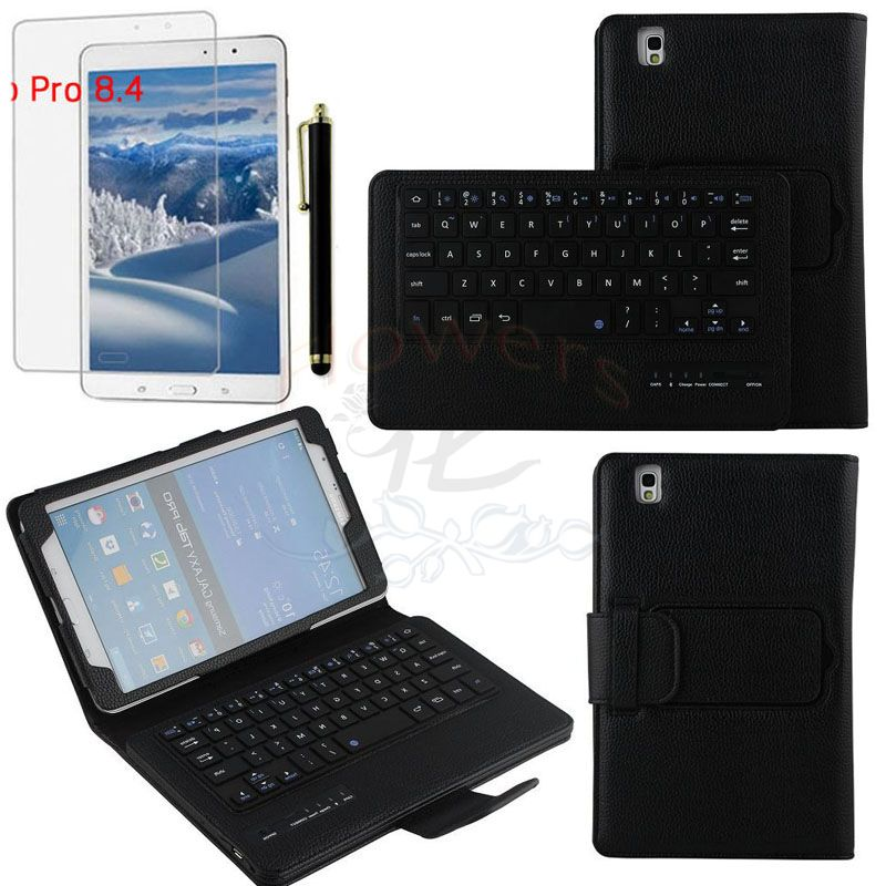 Specialized Removable Bluetooth Keyboard Case Smart Cover For Samsung Galaxy Tab Pro 8.4 T320 & Screen Protector & Pen & Black samsung keyboard cover ej cg930ubegru black