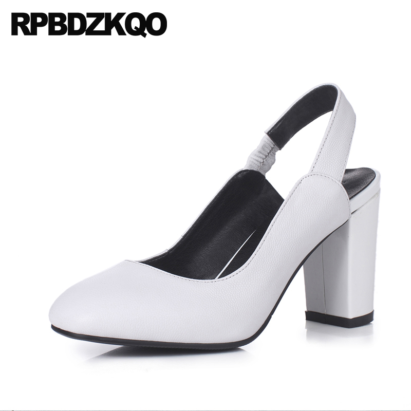 Top Quality Square Toe White Sandals Strap Designer Brand Shoes Women Genuine Leather Block High Heels Pumps Slingback Bridal sandals metal strap pumps square toe beige vintage medium 2017 women shoes high heels size 33 slingback belts block chinese