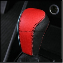 Car styling leather covered in auto gear shift lever for Hyundai Tucson 3th 2015 2016 2017