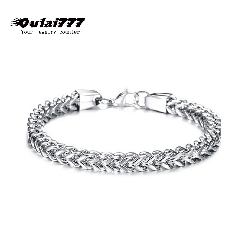 2019 stainless steel men charm bracelet on hand link chain male gift accessories mens bracelets hip hop rock punk style jewelry