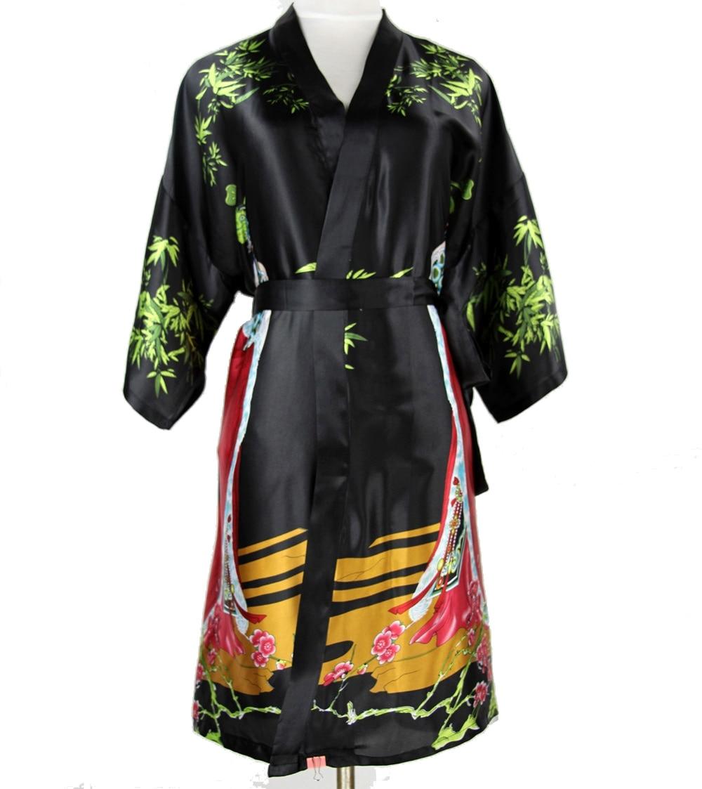 Sexy Black Chinese Women Silk Short Robe National Lingerie Nightgown Sleepwear Kimono Bath Gown Pijamas Plus Size XXXL NR046