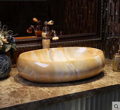 Imitation marbre éviers bassin continental ovale pierre évier art bassin salle de bain