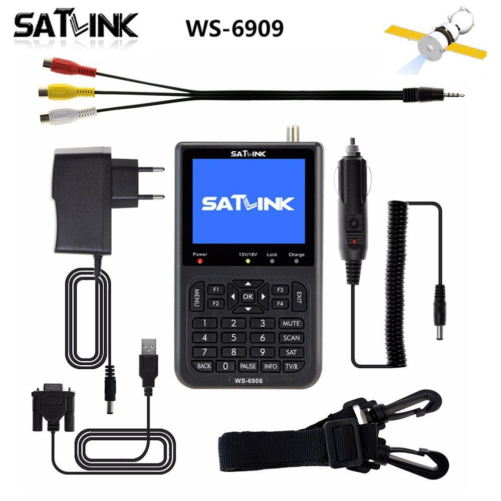 цена на Hot selling Original Satlink WS-6906 DVB-S FTA Digital Satellite Signal Meter 3.5 inch LCD HD WS 6906 satellite Finder WS6906