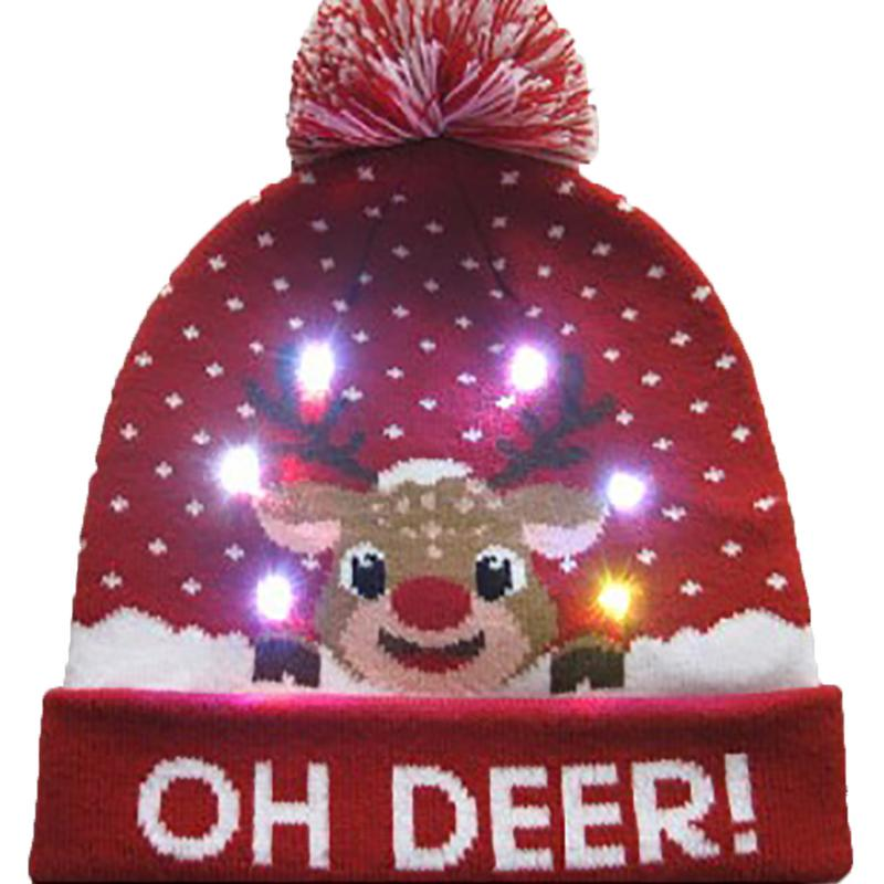 Г., 43 дизайна, светодиодный Рождественский головной убор, Шапка-бини, Рождественский Санта-светильник, вязаная шапка для детей и взрослых, для рождественской вечеринки - Цвет: 04