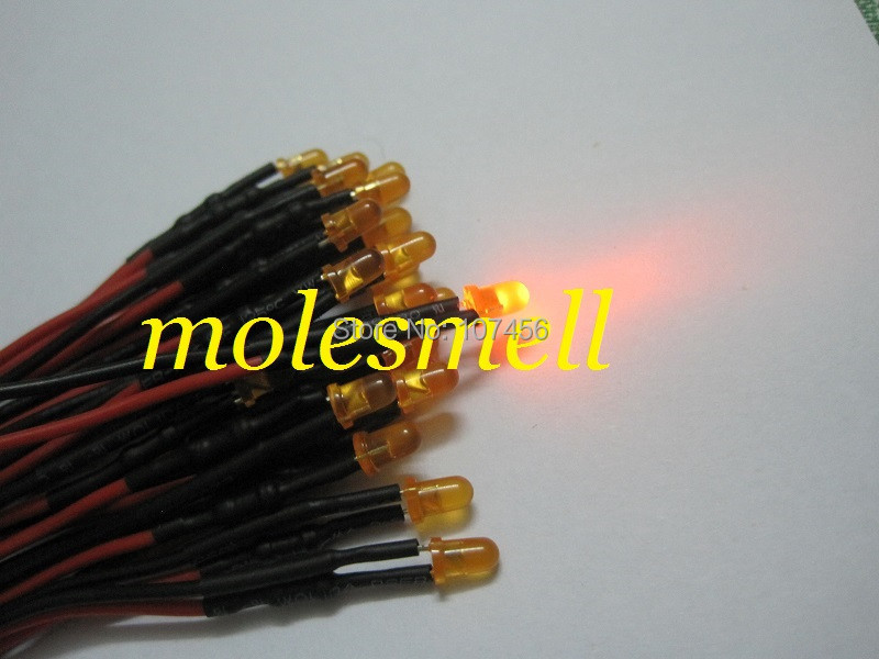 Free shipping 50pcs 3mm 12v diffused orange LED Lamp Light Set Pre-Wired 3mm 12V DC Wired