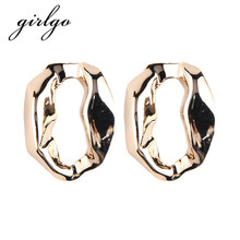 Girlgo Unique Metal Stud Earrings for Women Gold Color Geometric Statement Earrings Fashion Luxury Party Wedding
