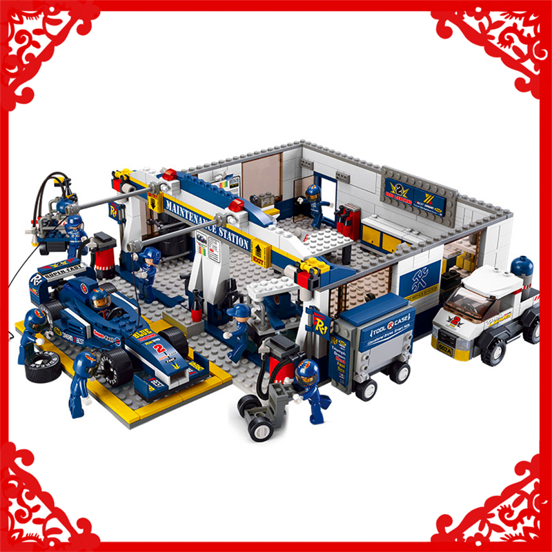 SLUBAN 0356 741Pcs F1 Racing Car Repair Station Model Building Block Construction Figure Toys Gift For Children Compatible Legoe sluban 2500 block vehicle maintenance repair station 414pcs diy educational building toys for children compatible legoe